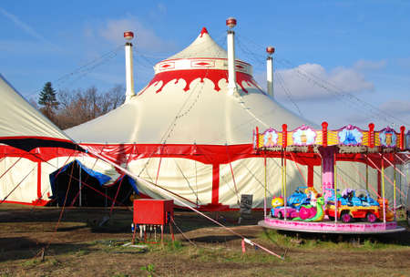 fair play: Circus tents in Prague with children carousel Stock Photo