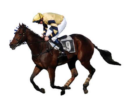 carreras de caballos: Jockey y su caballo galopante a la meta - aislados