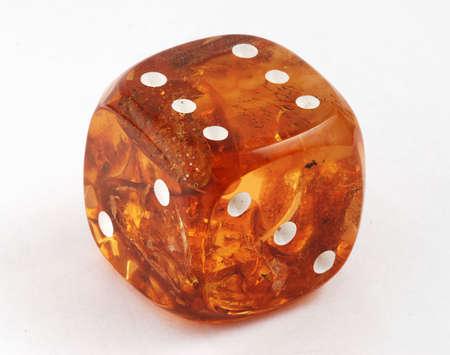 amber cube macro isolated on the white background Stock Photo - 2338755