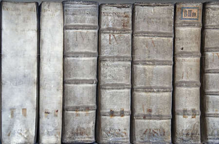 bibliography: Detail of ancient book backbones - tomes about medicine in latin
