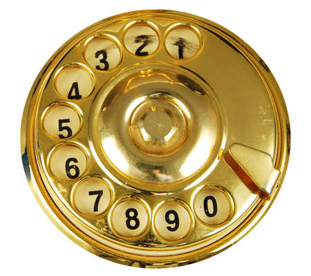 Luxurious golden vintage telephone dial isolated Stock Photo - 2491280
