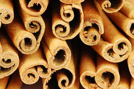 Big pile of spicy cinnamon sticks - macro photo