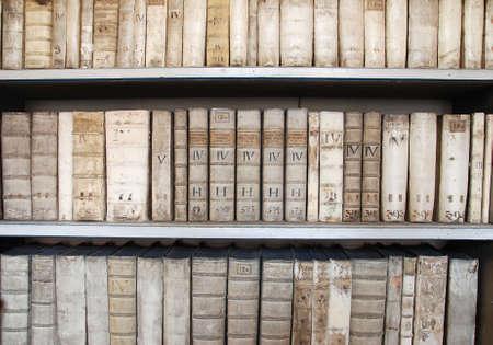scripts: Library shelves with ancient medieval medical books Stock Photo