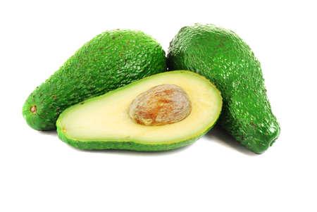 Fruits of avocado isolated on white background photo