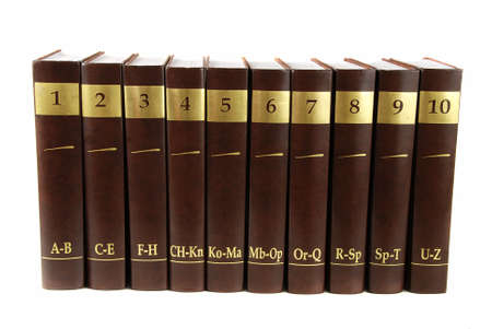 cover up: Encyclopedia set - 10 heavy book tomes isolated