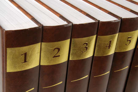 Five volumes of encyclopedia - books in a row photo