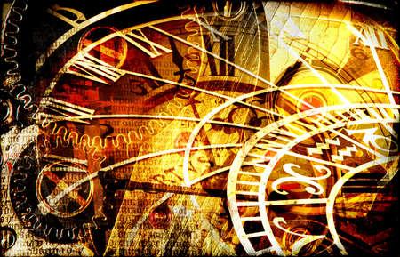 gear  speed: Disegno di Grungy con le macchine di tempo e la composizione mysterious nellorologio nel tono caldo Archivio Fotografico