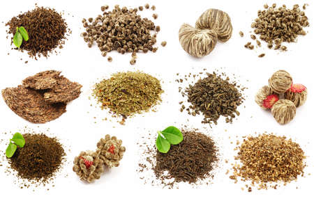 gunpowder tea: Set of twelve unique kinds of tea isolated
