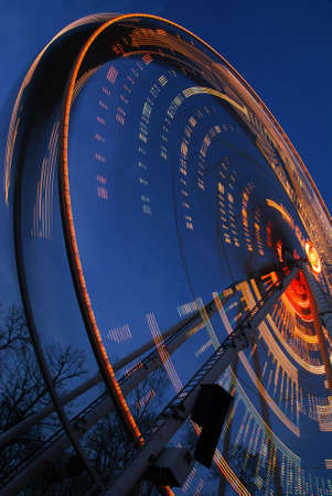 loopable: One of the crazy festival ferris wheels in Prague. Beautiful neon light show.