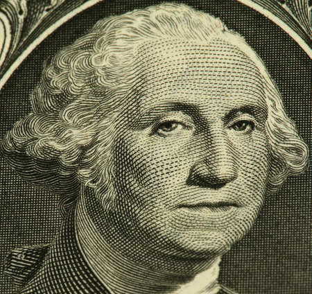 George Washington portrait from a one dollar banknote photo