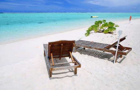 Two canvas chairs on a beautiful Maldivian beach Stock Photo