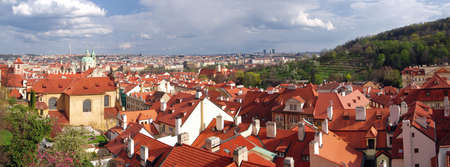 panoramatic: Panoramatic photo of Czech Capital Prague from the Castle at roofs of Old Town with a park
