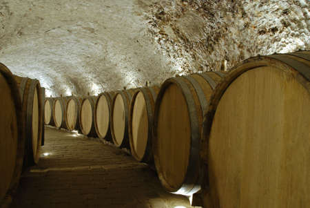 Old wine cellar with barrels and path photo