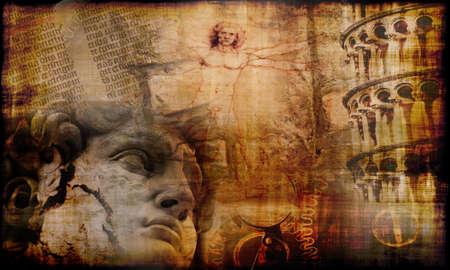 uomo vitruviano: Grunge background con misteriosa atmosfera della cultura storica italiana famosa tesori Archivio Fotografico