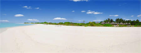 Beautiful tropical beach in the Caribbean - panorama photo