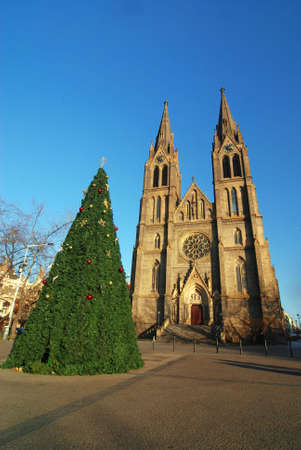 dais: Cathedral of Saint Ludmila in Prague and a christmas tree in front of it