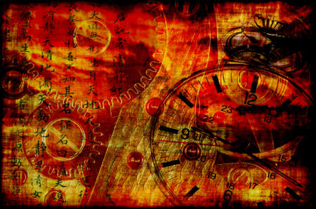Grungy concept of time and clock - symbolises devilish time