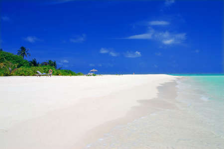 Tropical paradise in Maldives with white beach and turquoise sea photo