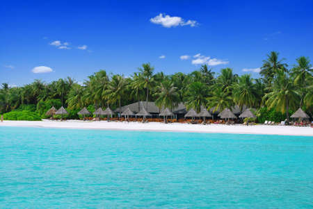 Tropical paradise in Maldives with white beach full of palms and umbrellas and turquoise sea photo