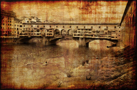 oldest: Memories of the oldest bridge in Florence Ponte Vecchio. Grunge style photo.