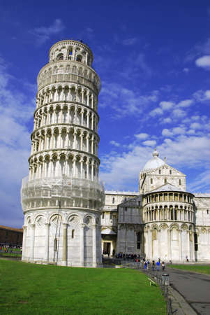 Leaning Tower of Pisa in Italy with cathedral  photo
