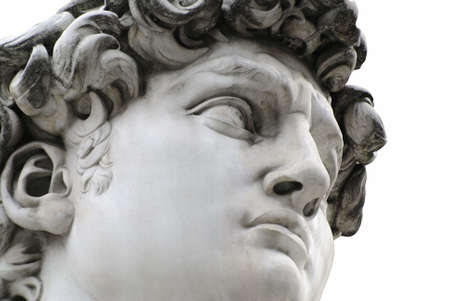 david: Head of a famous statue by Michelangelo - David from Florence, isolated on white