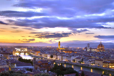 duomo: Beautiful sunset over river Arno in Florence, Italy, HDR