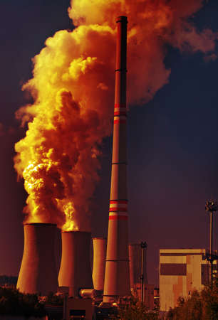 contamination: Power plant with dramatic clouds of smoke pollution