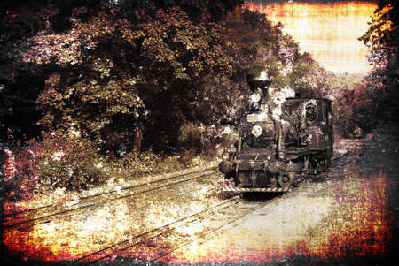 railway history: Ancient steam locomotive on a vintage railroad, heavily textured to achieve  maximum vintage effect Stock Photo