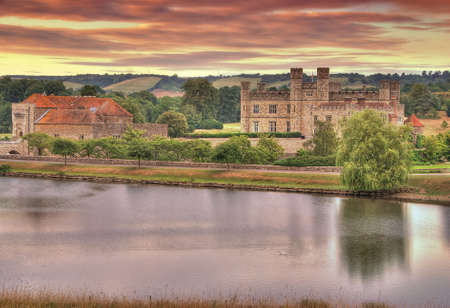 Beautiful sunrise over the Leeds Castle - Kent, Great Britain. HDR image