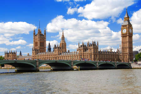 commons: Houses of Parliament and a Westminster bridge at a sunny day Stock Photo