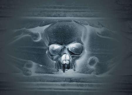 Scary staring skull  Blue tint in monochrome photo