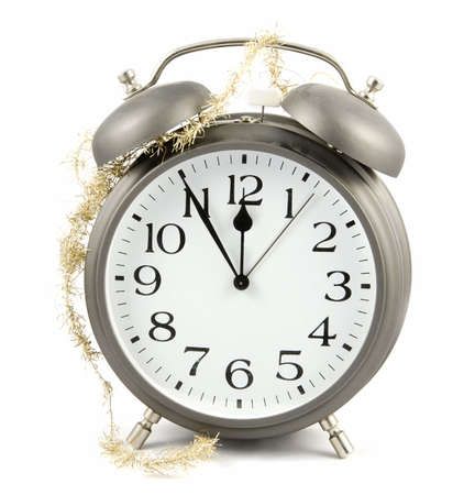 New Year is comming! Alarm clock with golden chain photo