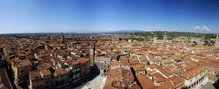 topdown: Wide top-down panorama of beautiful Italian city Verona