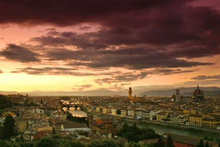 firenze: Beautiful sunset over river Arno in Florence, Italy,  Stock Photo