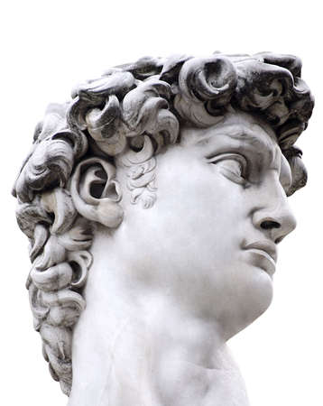 italian PEOPLE: Head of a famous statue by Michelangelo - David from Florence