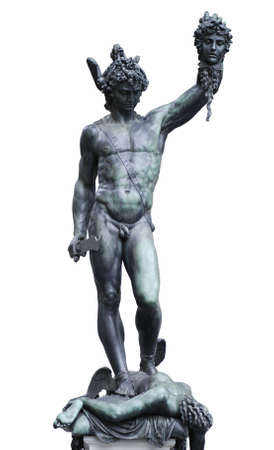 greek statue: Famous bronze statue of Perseus holding head of Medusa by Benvenuto Cellini is standing on Loggia dei Lanzi, Florence, Italy. Isolated on white Stock Photo