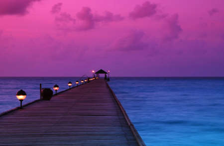 the maldives: Beautiful sunrise over the sea and jetty in the Maldives, Indian Ocean