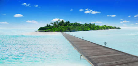 atoll: Jetty leading to he beautiful Maldivian atoll with coconut palms  Stock Photo