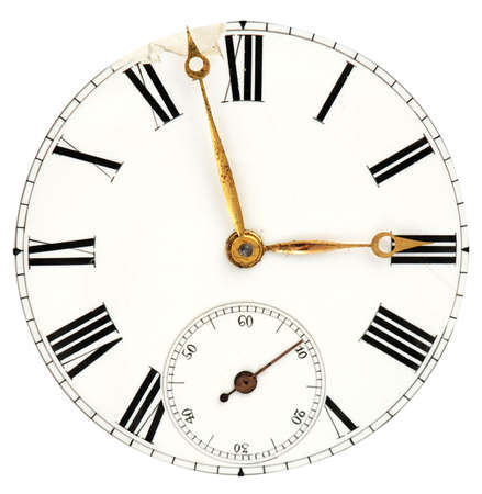 dials: Face of the ancient clock with roman numbers and golden pointers isolated on white