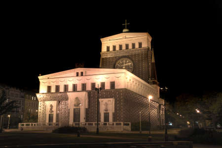 functionalism: Modern church of the Sacred Heart in Prague. Night. Stock Photo