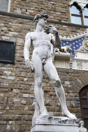 Replica of Michelangelos David at its original standing place  photo