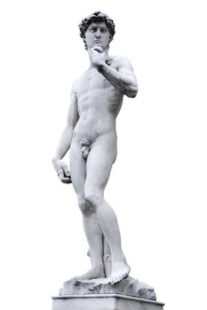 Famous statue by Michelangelo - David from Florence, isolated on white  photo