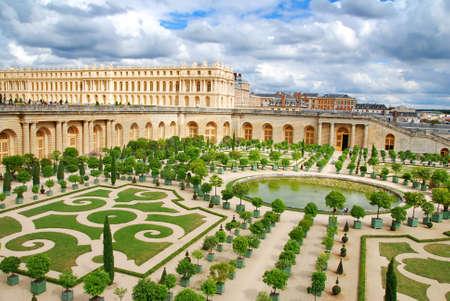 Famous palace Versailles near Paris, France with beautiful gardens