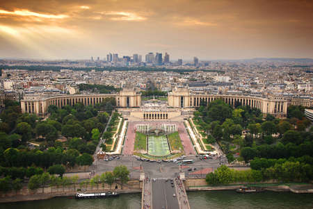View at the Parisian Trocadero from Eiffel Tower at Sunset, France.