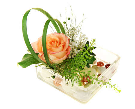 Beautiful floral still life with blooming rose, various stones and colorful marbles isolated on white photo