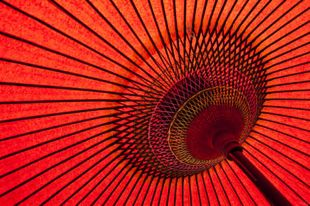 parasol: Detail of a traditional red japanese umbrella