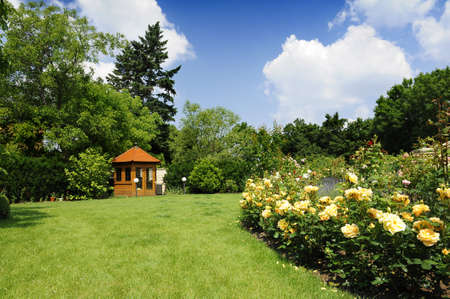 Beautiful garden with blooming roses and a small gazebo