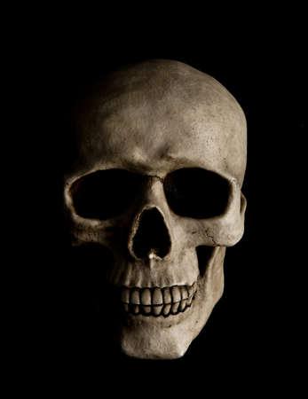 calavera: Cr�neo humano con rayo dram�tico es aislado en un fondo negro Foto de archivo