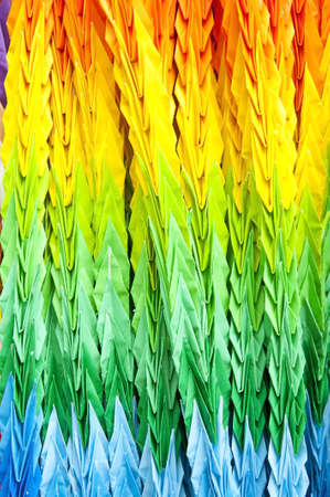 crane origami: Colorful chains of origami cranes remind of a nuclear blast in Nagasaki, Japan